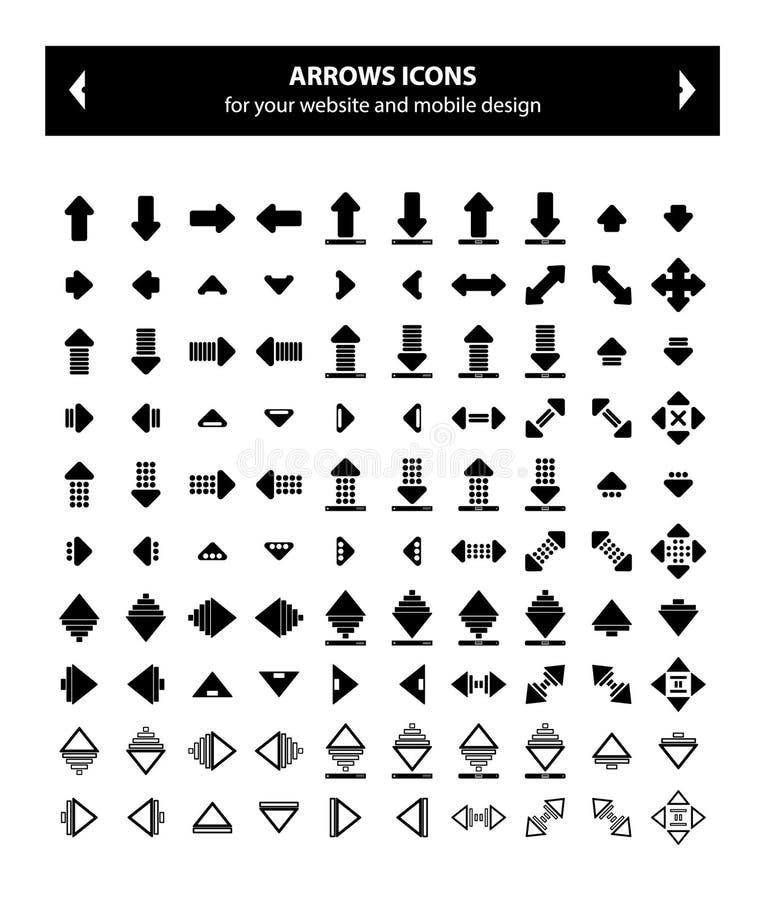 Pilar svärtar symboler - vektorbild royaltyfri foto