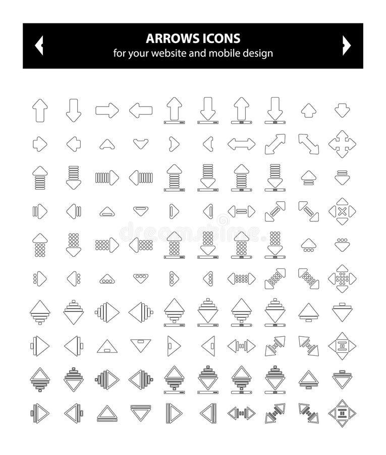 Pilar svärtar symboler - vektorbild arkivfoton