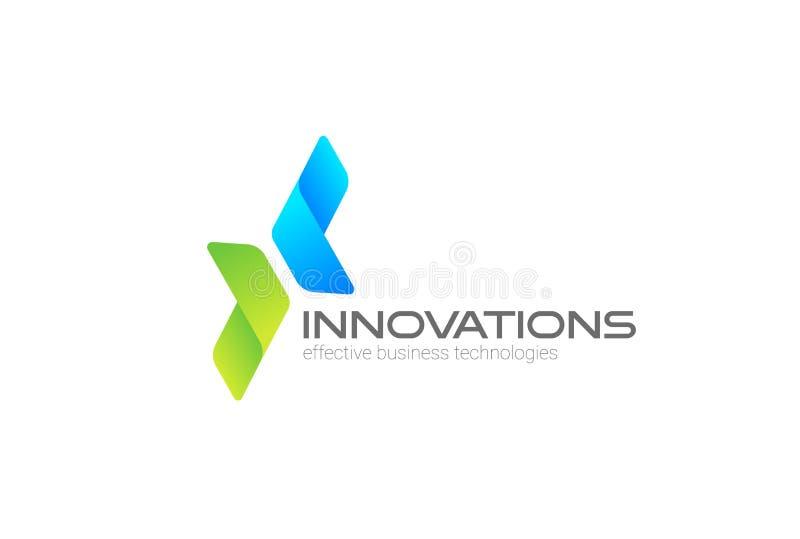 Pilar två riktningar som fokuseras på företags, investerar mallen för vektorn för affärslogodesignen För logotypbegrepp för finan royaltyfri illustrationer