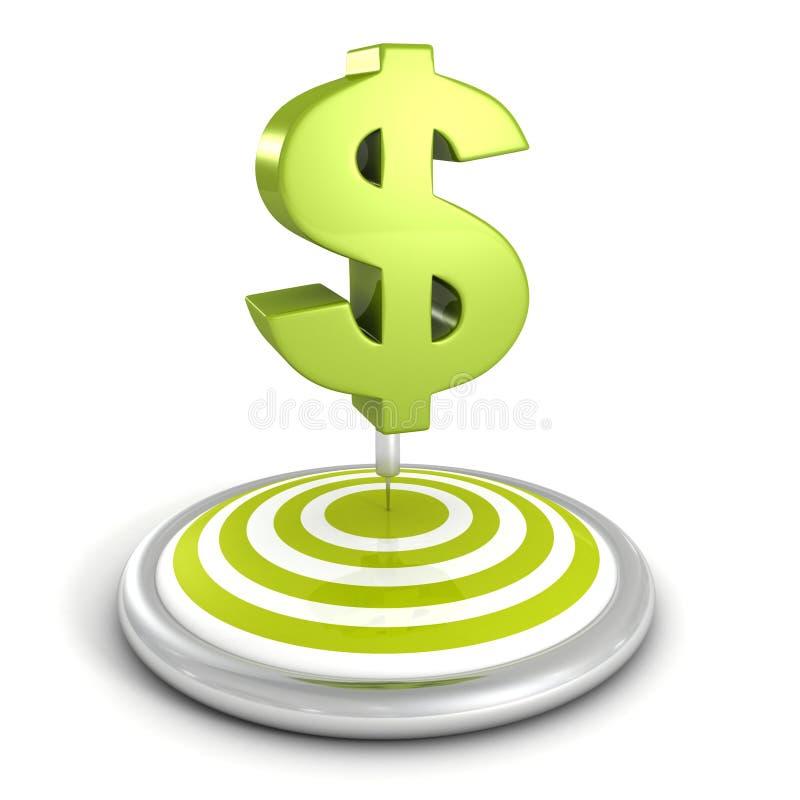 Pilar uppsätta som mål och pilen med det gröna dollartecknet vektor illustrationer