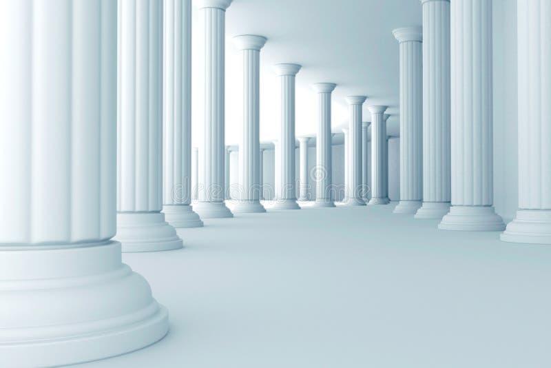 Pilares en pasillo stock de ilustración
