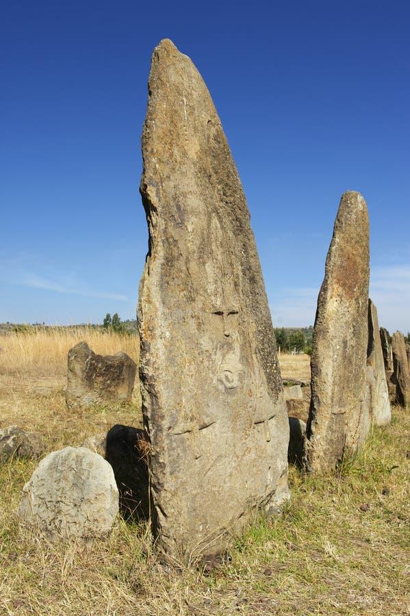 Pilares megalíticos misteriosos de Tiya, sitio del patrimonio mundial de la UNESCO, Etiopía imagenes de archivo
