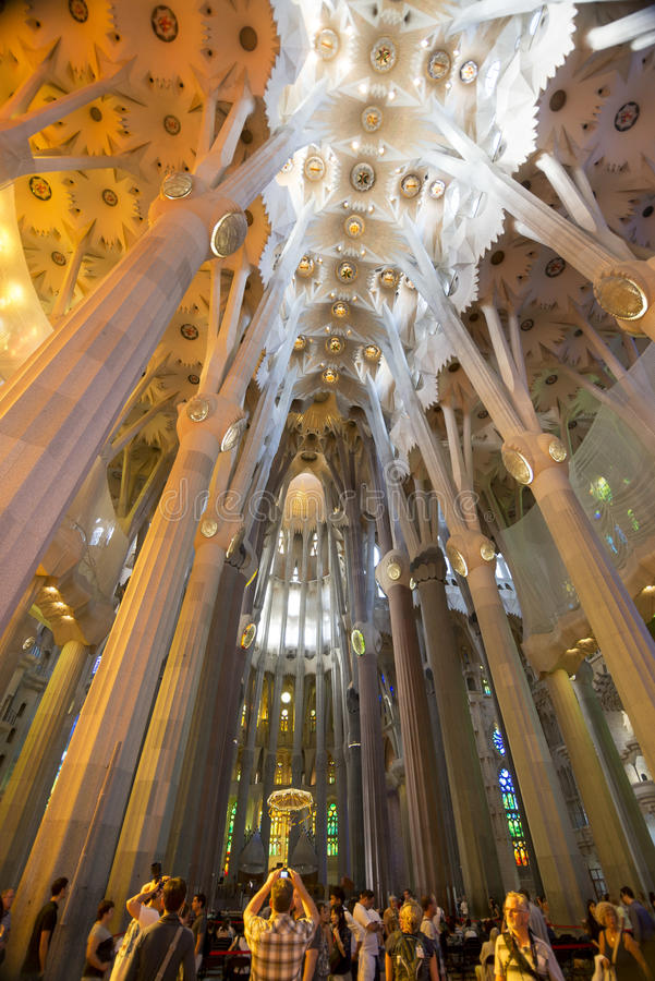 Pilars and Ceiling. The beautiful pillars and ceiling filled with colors inside the Sagrada Familia, Barcelona, Spain royalty free stock photos