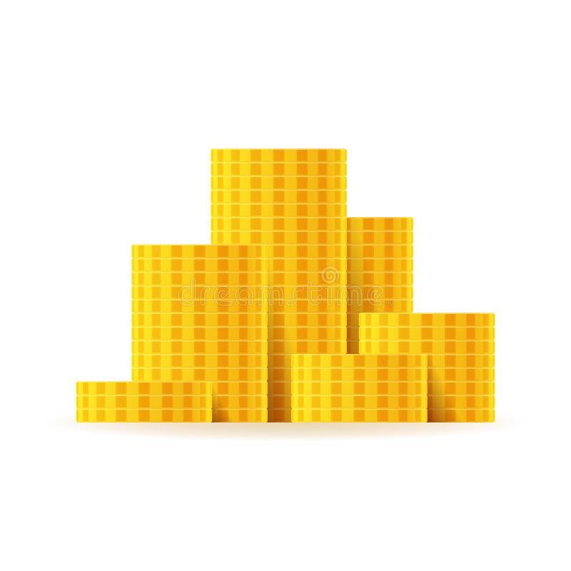 Pilas brillantes y pilas de oro de la moneda del vector fijadas en estilo plano libre illustration