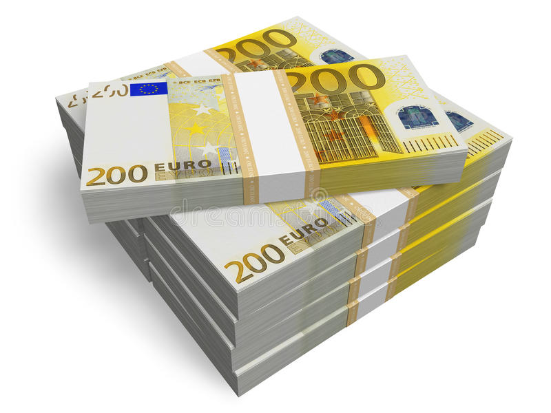 Pilas de 200 billetes de banco euro libre illustration