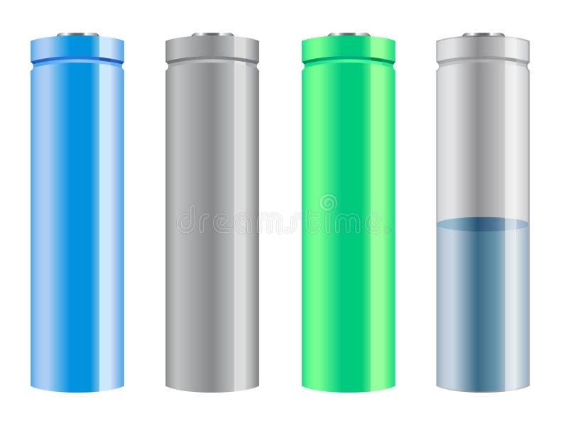 Pilas de batería stock de ilustración