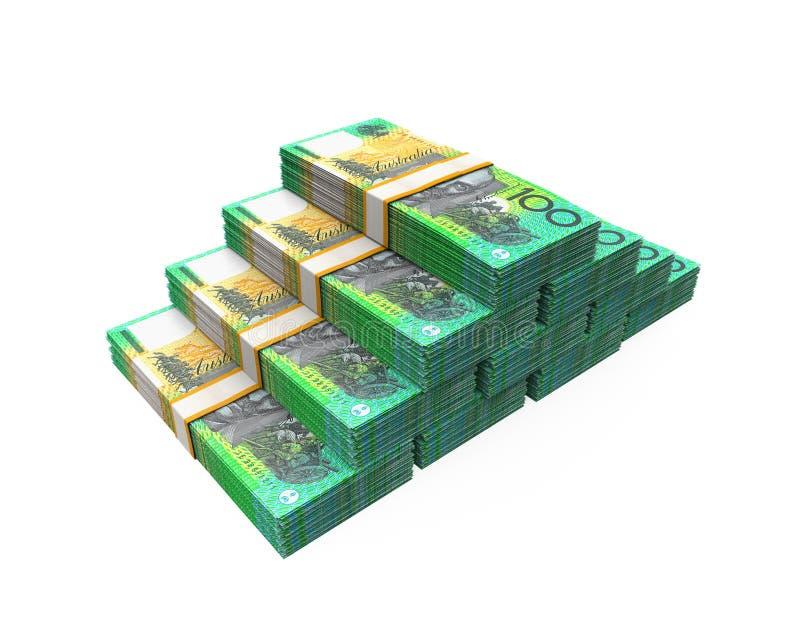 Pilas de 100 billetes de banco del dólar australiano ilustración del vector