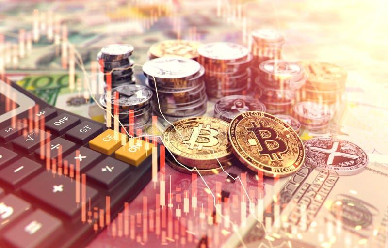 Pilas de Bitcoin, de otros cryptocurrencies y de una calculadora Tarifas e impuestos sobre inversiones del cryptocurrency renderi libre illustration