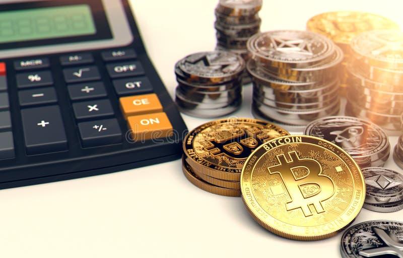 Pilas de Bitcoin, de otros cryptocurrencies y de una calculadora Tarifas e impuestos sobre inversiones del cryptocurrency represe stock de ilustración