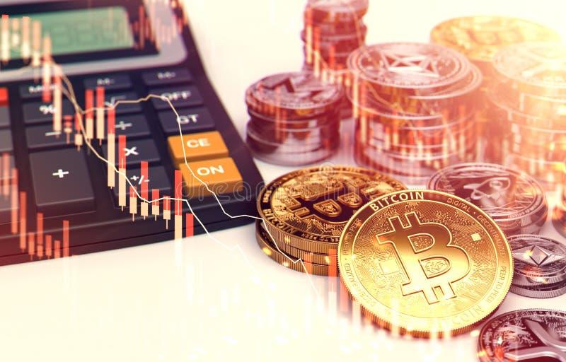 Pilas de Bitcoin, de otros cryptocurrencies y de una calculadora Tarifas e impuestos sobre inversiones del cryptocurrency represe ilustración del vector