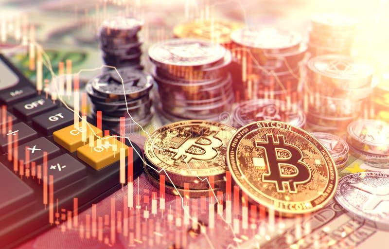 Pilas de Bitcoin y de otros cryptocurrencies con la capa roja del diagrama del mercado de acción Tarifas e impuestos sobre invers ilustración del vector