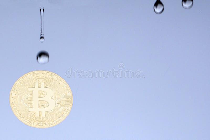 Pilas de bitcoins y de una fractura grande de la moneda por la mitad por un gráfico rojo que cae un fondo azul borroso Mofa para  fotografía de archivo