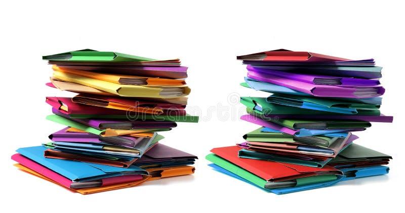 Pilas de carpetas de documentos imagen de archivo libre de regalías