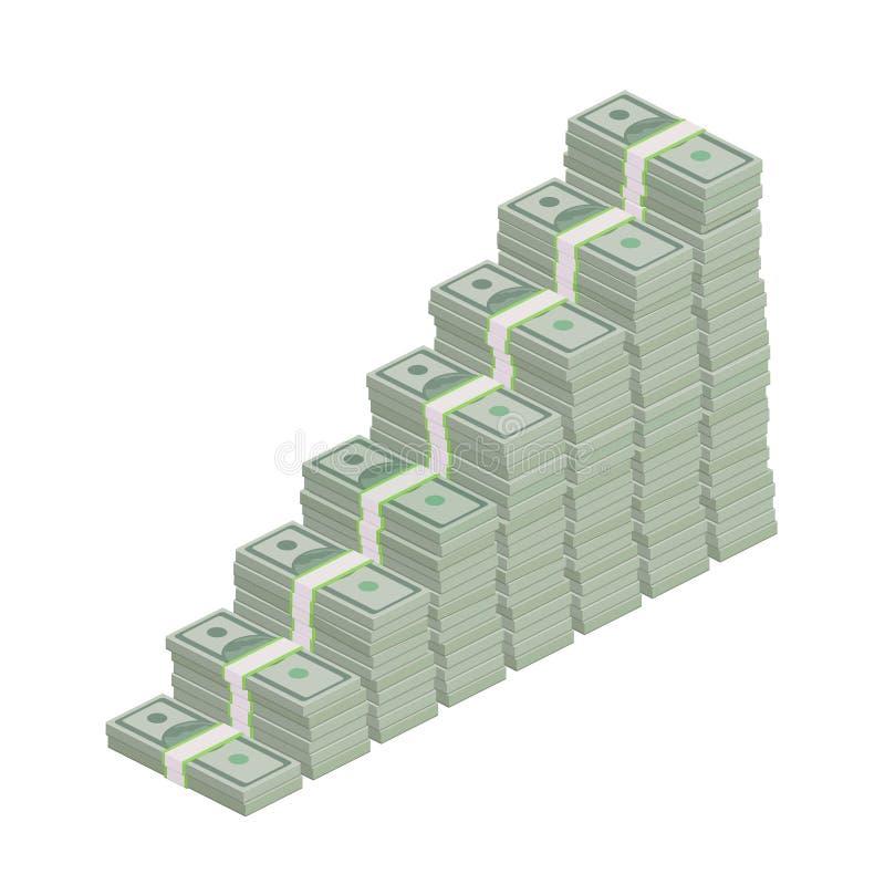 Pilas de cientos cuentas de dólar stock de ilustración