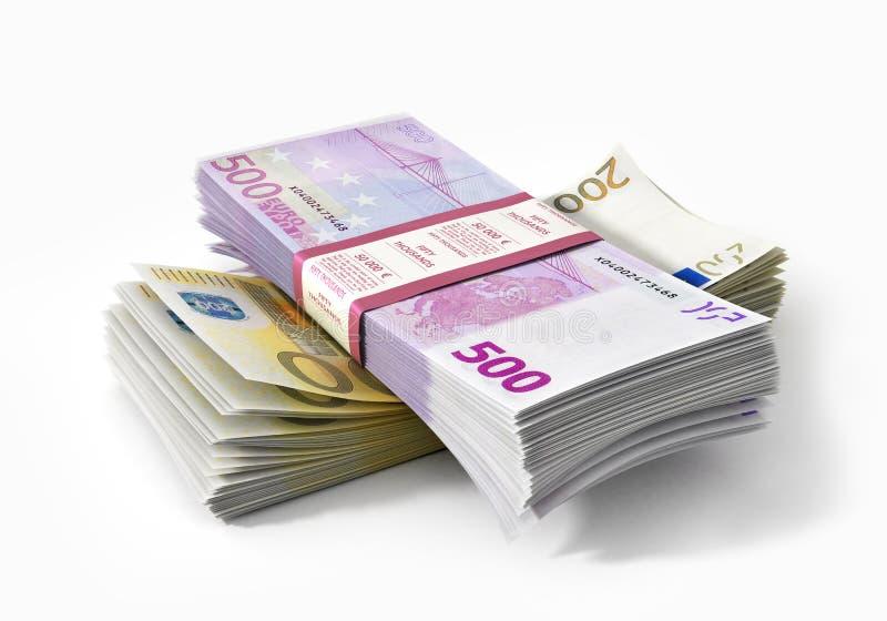Pilas de dinero de los euros fotos de archivo