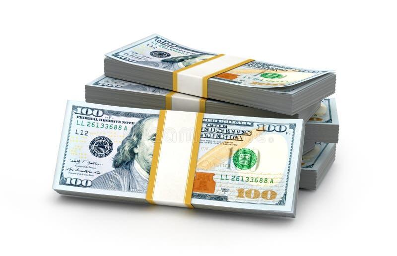 Pilas de dinero Nuevo cientos dólares ilustración del vector