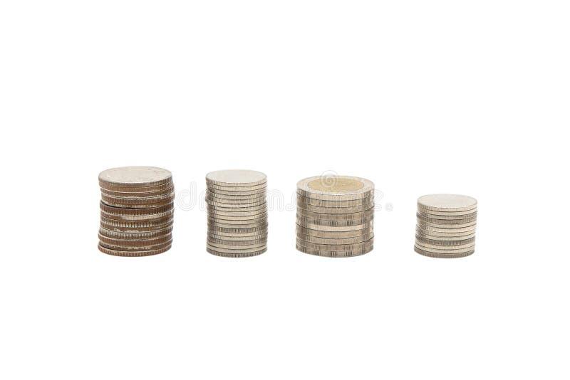 Pilas de la moneda con cualquier tamaño en un fondo blanco fotos de archivo libres de regalías