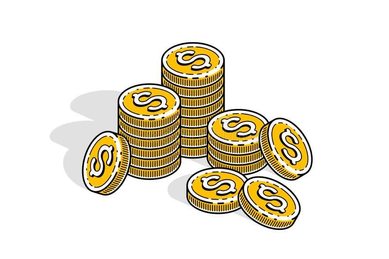 Pilas de la moneda del dinero del efectivo aisladas en el fondo blanco Negocio del vector 3d y ejemplo isométricos de las finanza ilustración del vector