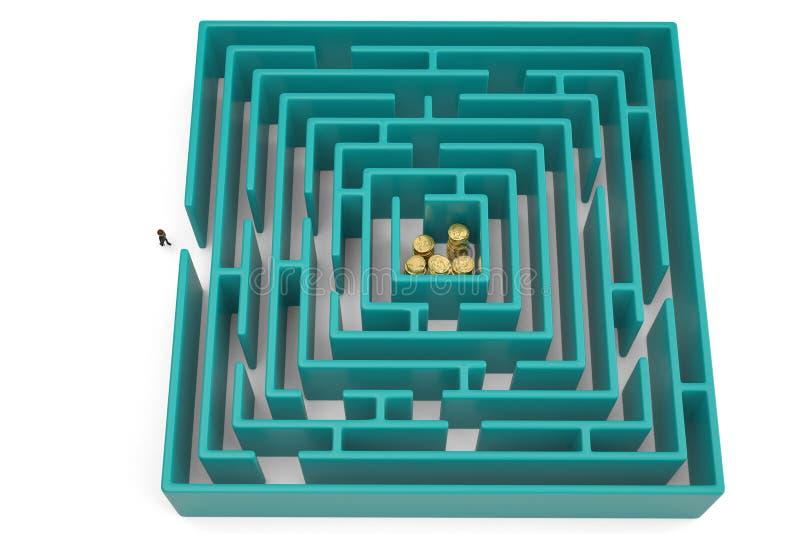 Pilas de la moneda de oro en centro del laberinto ilustración 3D libre illustration