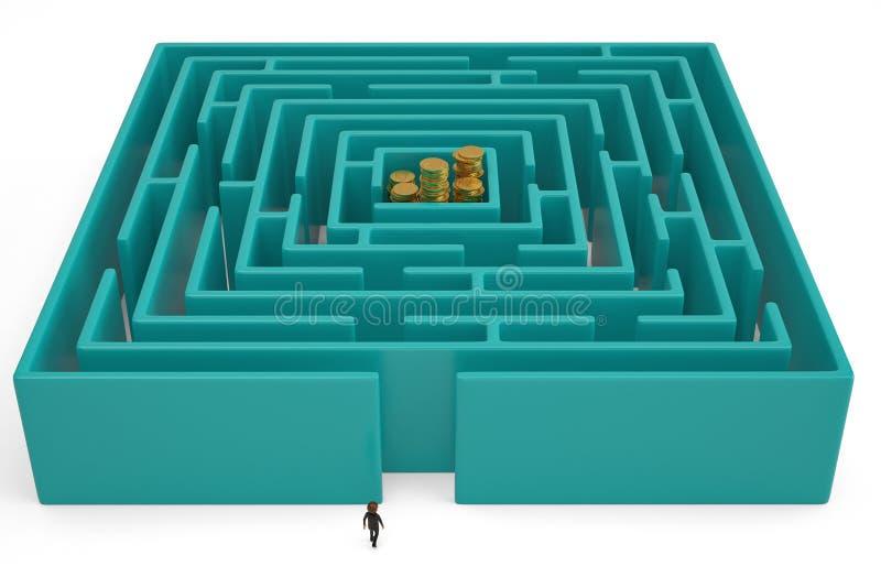 Pilas de la moneda de oro en centro del laberinto ilustración 3D stock de ilustración