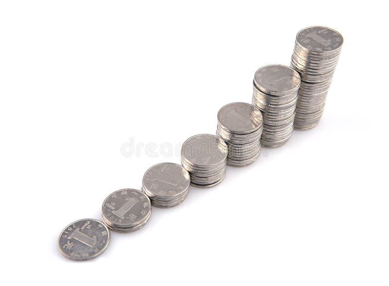 Pilas de las monedas de plata imagen de archivo