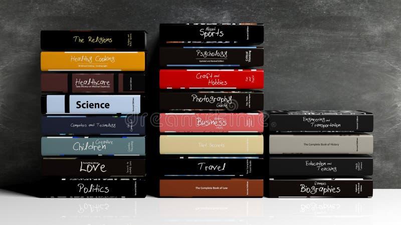 Pilas de libros con los diversos temas stock de ilustración