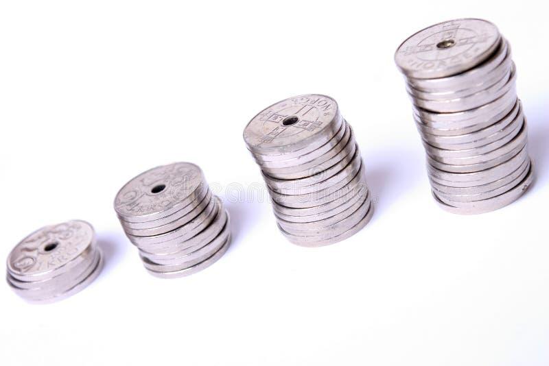 Pilas de monedas imagen de archivo libre de regalías