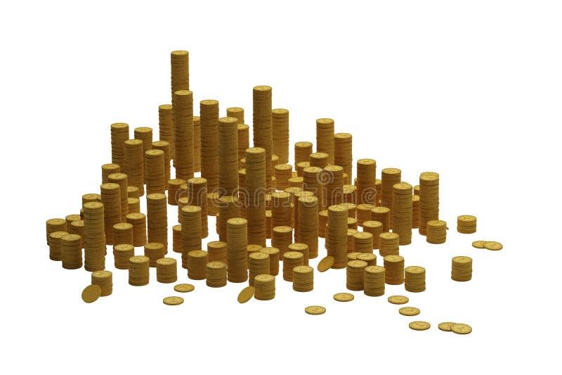 Pilas de monedas stock de ilustración