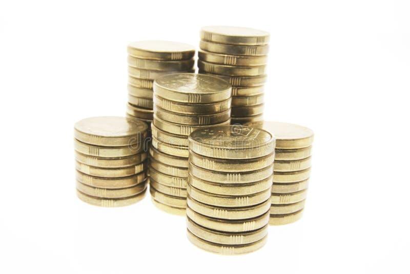 Pilas de monedas fotografía de archivo libre de regalías