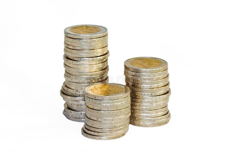 Pilas de monedas foto de archivo libre de regalías