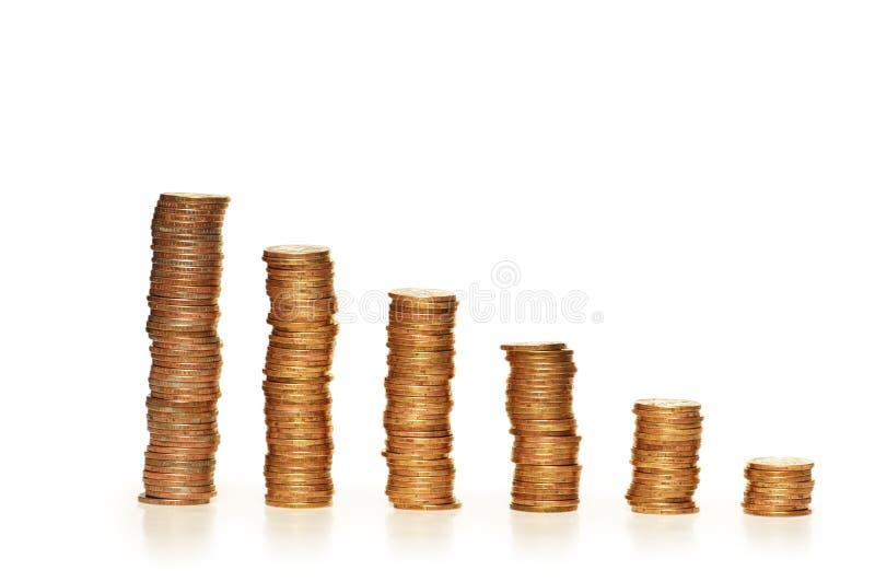 Pilas de monedas aisladas en el th imágenes de archivo libres de regalías