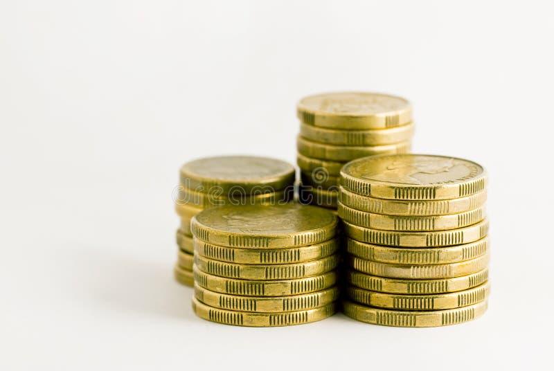 Pilas de monedas australianas fotos de archivo