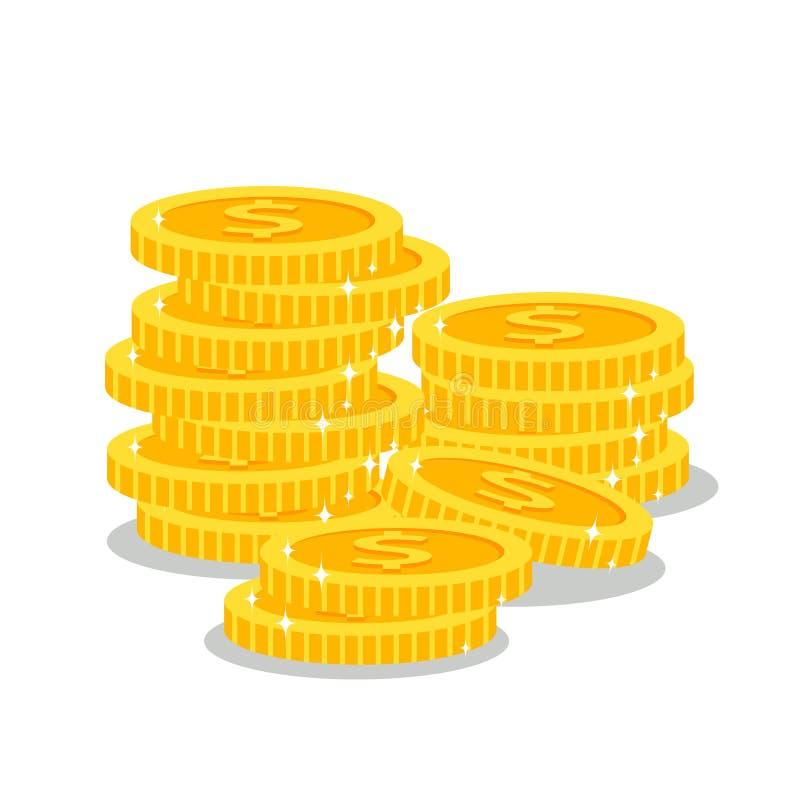 Pilas de monedas de oro ilustración del vector