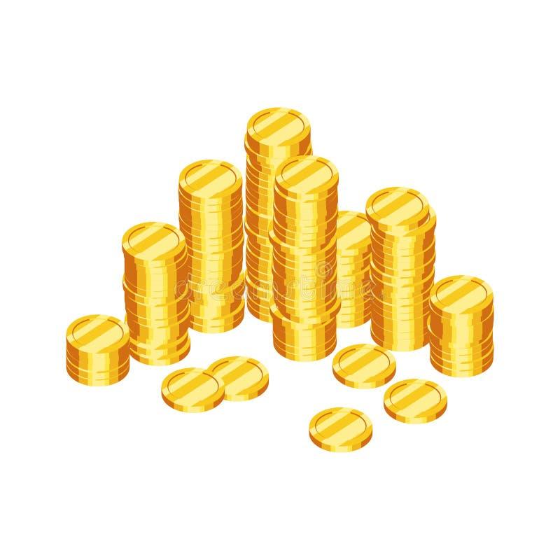Pilas de monedas de oro stock de ilustración