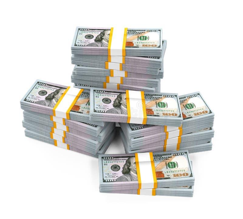 Pilas de nuevos 100 billetes de banco del dólar de EE stock de ilustración