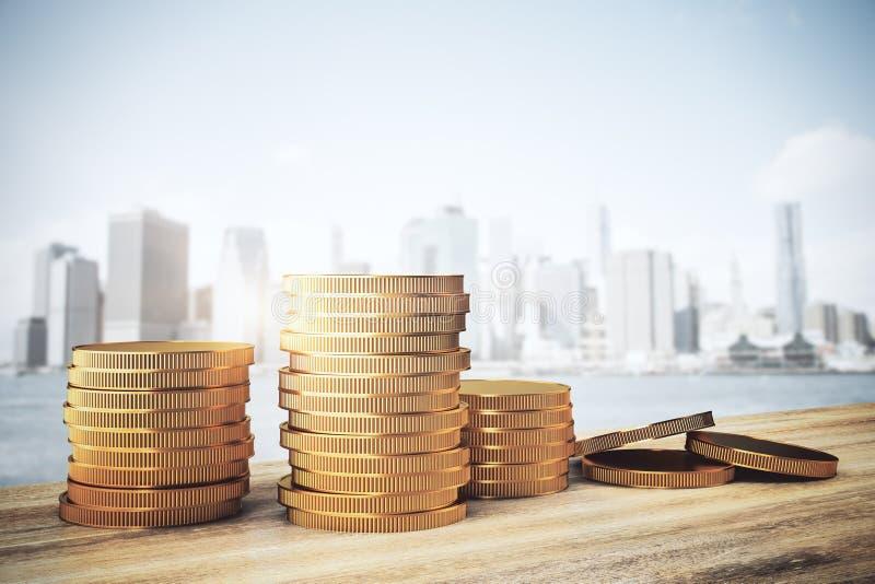 pilas de oro de la moneda stock de ilustración
