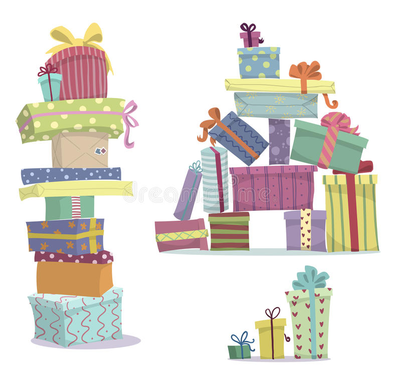 Pilas de presentes Montones del garabato de las cajas de regalo stock de ilustración