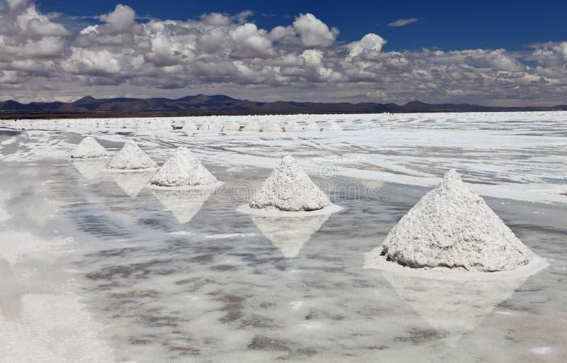 Pilas de sal imagenes de archivo