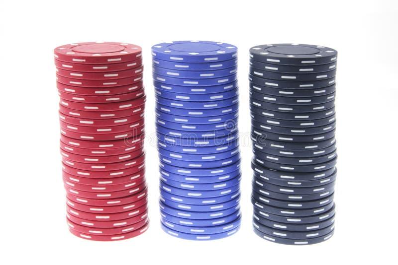 Pilas de virutas de póker imágenes de archivo libres de regalías