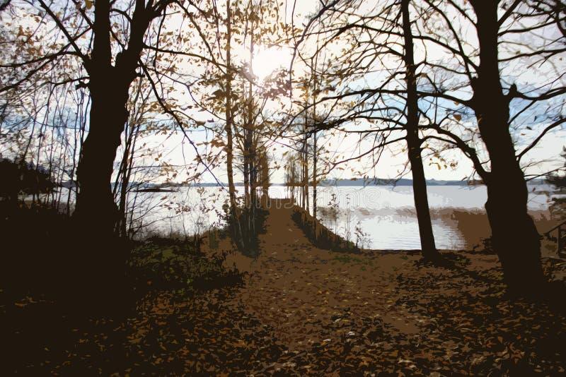 Pilastro abbandonato sul lago illustrazione di stock