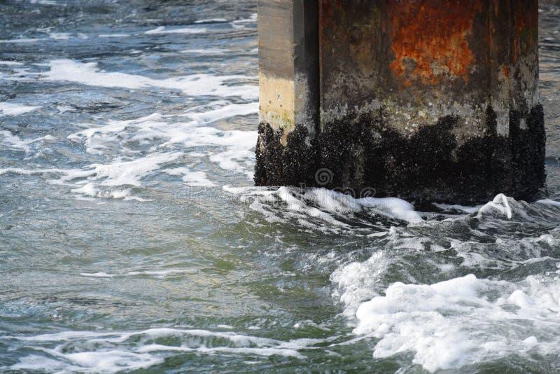 Pilastro arrugginito con le coperture nello spruzzo dal mare, porto astratto immagine stock