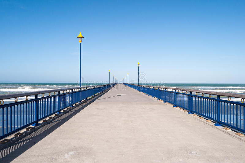 Pilastro a Brighton Beach, Christchurch, Nuova Zelanda immagine stock
