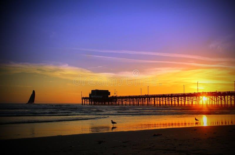 Pilastro California del sud della spiaggia di Newport fotografia stock libera da diritti
