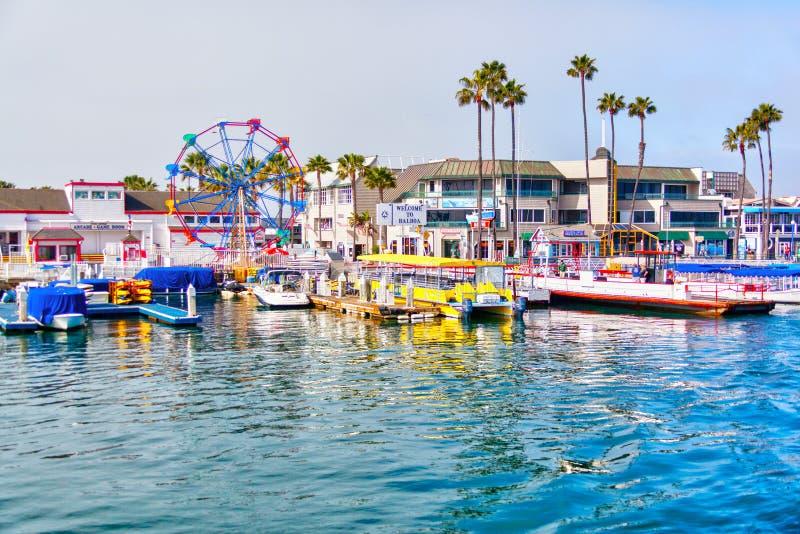 Pilastro della balboa alla spiaggia di Newport, California fotografia stock libera da diritti