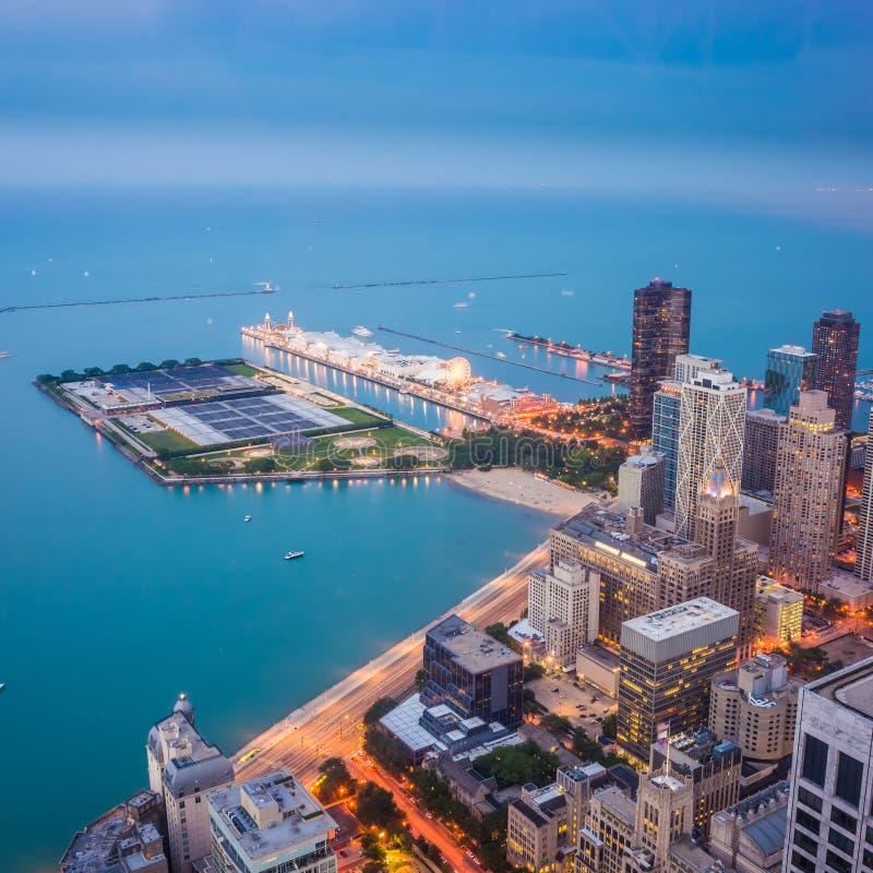 Pilastro della marina, vista superiore della città di Chicago immagine stock libera da diritti