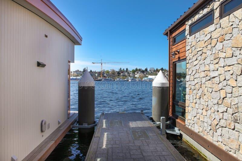 Pilastro delle Camere di barca del sindacato di Seattle, lago immagine stock libera da diritti