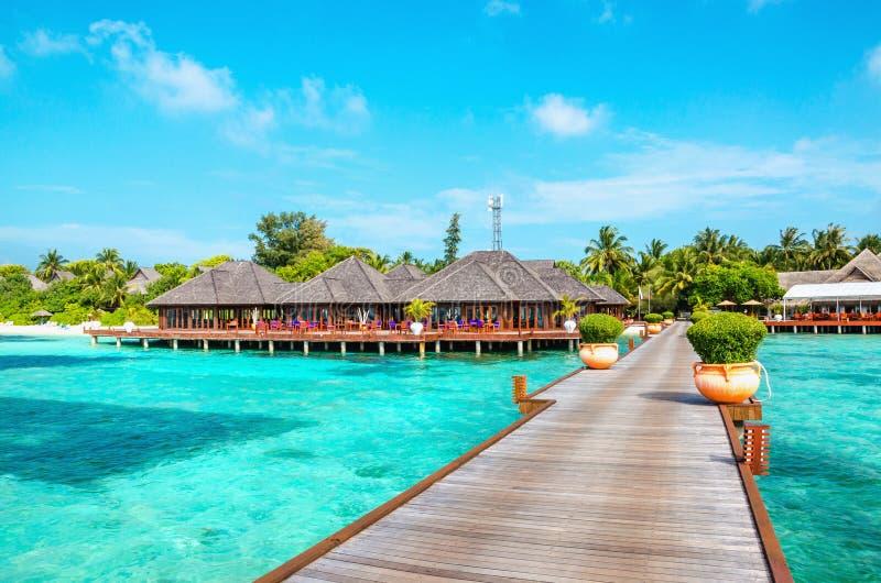 Pilastro di legno e bungalow esotico sui precedenti di una spiaggia sabbiosa con le palme alte, Maldive fotografia stock
