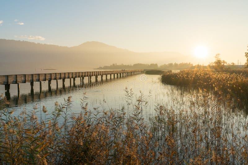 Pilastro di legno lungo del sentiero costiero sopra acqua alla luce uguagliante dorata con una siluetta del paesaggio della monta immagine stock