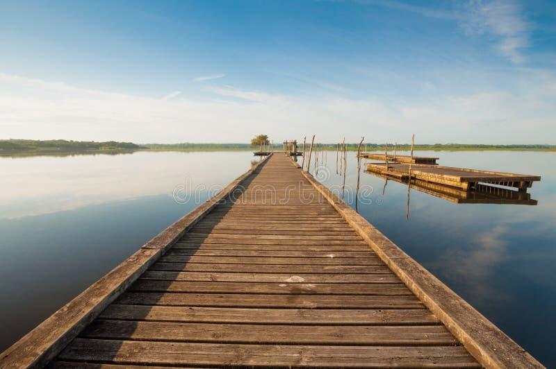 Pilastro di legno in un lago Alba a Soustons, Francia immagini stock