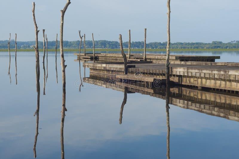 Pilastro di legno in un lago Alba a Soustons, Francia Mattina di estate immagini stock libere da diritti